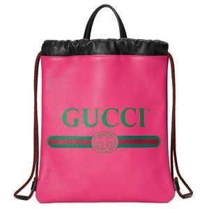 GUCCI Leather Drawstring Pink Backpack NWT